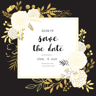 Black and white wedding card with floral design