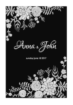 Black and white wedding invitation. vintage greeting card template. succulent ranunculus floral border frame. embroidery flower vector illustration