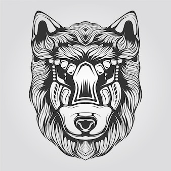 Black and white wolf line art for tatto or coloring book