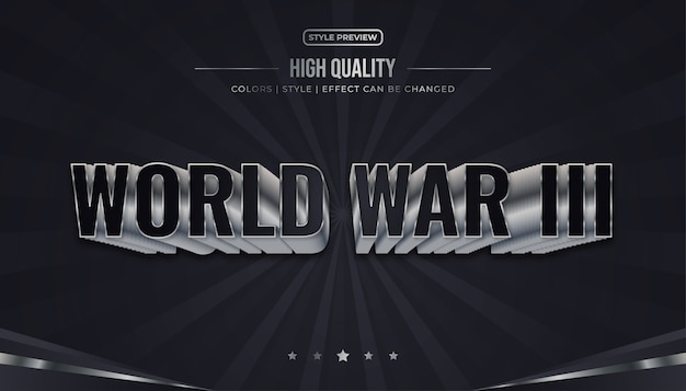 Black and white world war text effect illustration