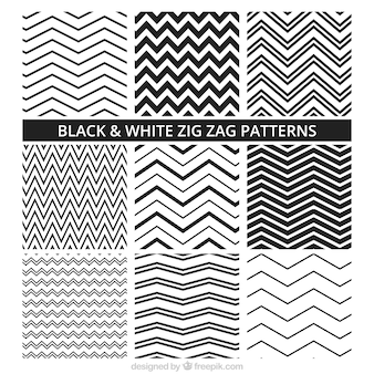 Black and white zig zag patterns