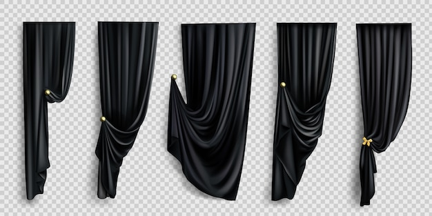 Black window curtains