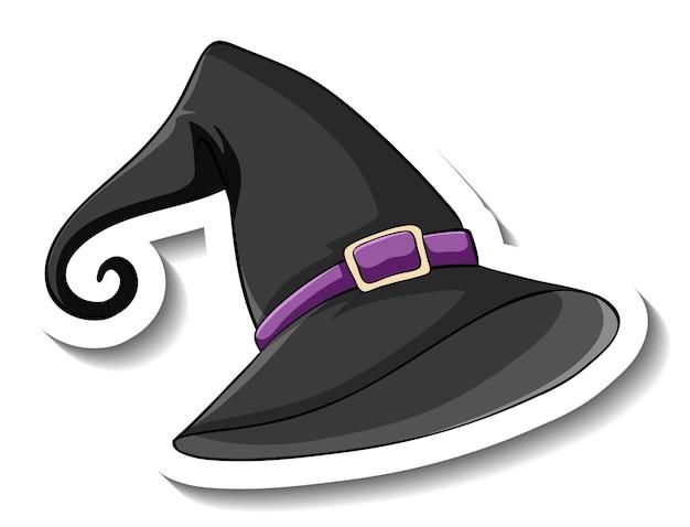 Черная ведьма шляпа мультяшный стикер на белом фоне