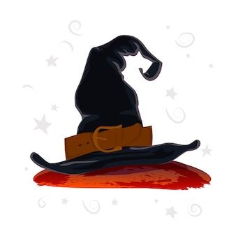 白い背景で隔離の黒魔女帽子。ベクトルイラスト。