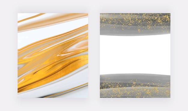 카드 배너 초대장을 위한 황금빛 반짝이 수채화 커버가 있는 블랙