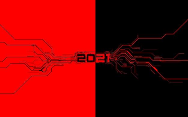 新年の赤の未来的な技術テンプレートと黒