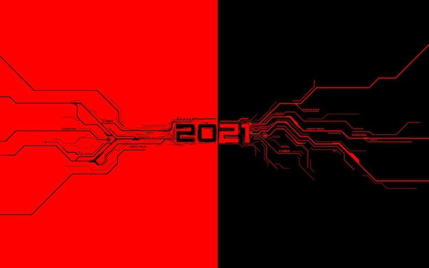 Black with red futuristic technology template for new year