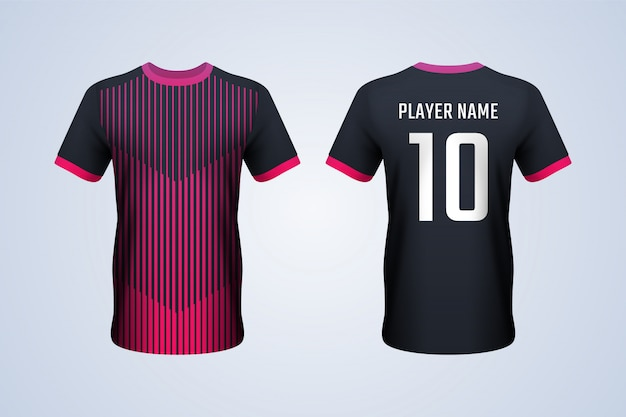 Black with red strips soccer jersey template