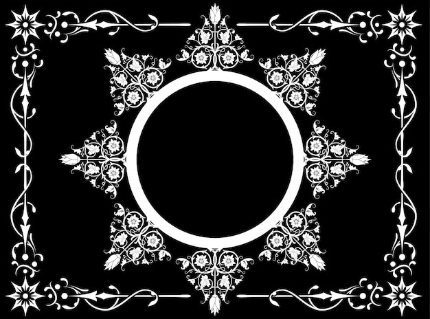 Black and withe abstract flower with frame