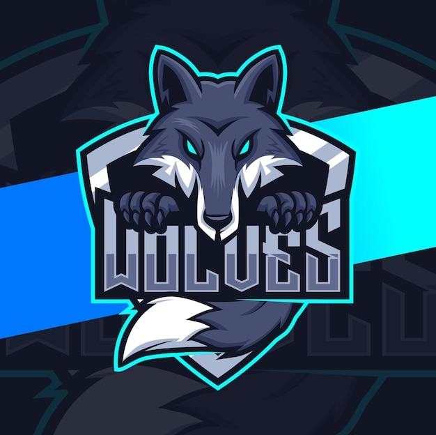 Black wolves mascot character for gaming and esport logo design