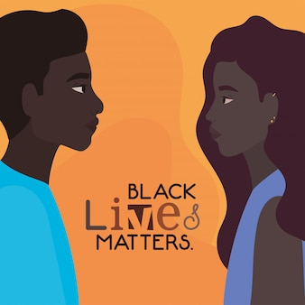 Чернокожие женщины и мужчины мультфильмы сбоку с черными жизнями имеют значение текстовый дизайн протеста справедливости и темы расизма