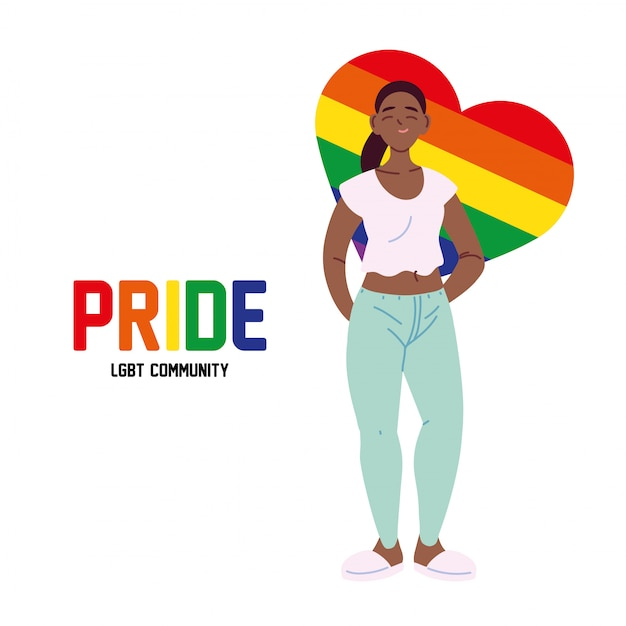 Lgbtiハートベクターデザインの黒人女性漫画