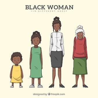 Carattere di donna di colore in epoche diverse