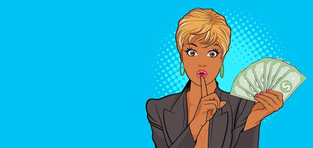 Black woman finger on lips silence gesture copy space for banner pop art retro comic style