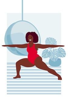 여름 비키니 수영복을 입은 흑인 여성은 virabhadrasana 포즈 요가 아사나 스포츠 및 피트니스에 서 있습니다.