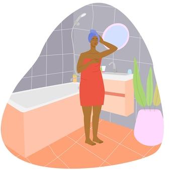 욕실에서 흑인 여자 욕실 욕실 인테리어 재고 벡터 일러스트 레이 션에 여자