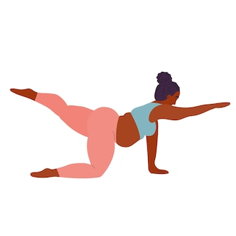 Black woman practices yoga sports and fitness girl practices asanas yoga poses