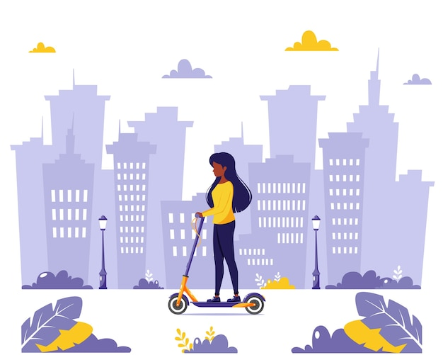 電気キックスクーターに乗っている黒人女性。エコ輸送のコンセプト。フラットスタイルで。