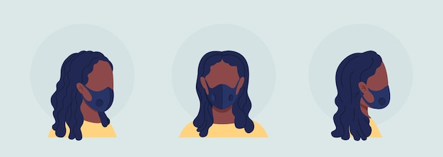 Black woman semi flat color vector character avatar with mask set