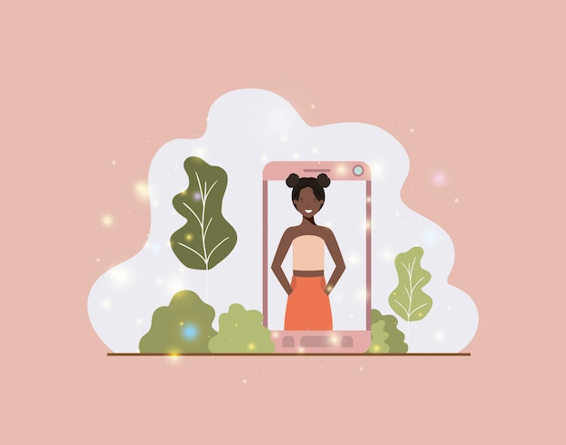 Black woman in smartphone on landscape