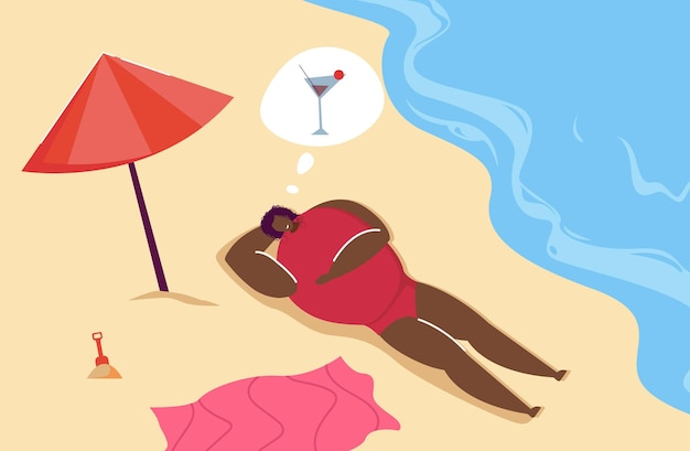 Черная женщина загорает на пляже и думает о коктейле. жаждущий женский персонаж, лежащий на песке у воды плоской векторной иллюстрации. лето, концепция отпуска для баннера, дизайна веб-сайта или целевой страницы