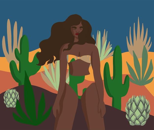 Black woman surrounded by desert plants flat vector illustration