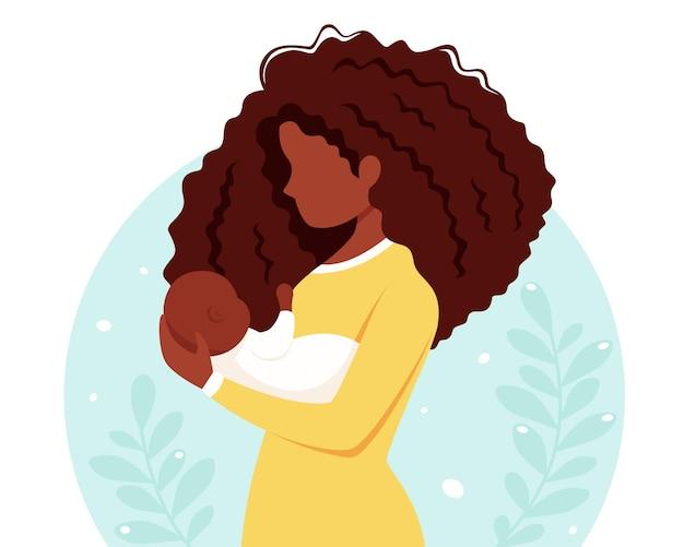 아기와 함께 흑인 여성입니다. 모성, 육아