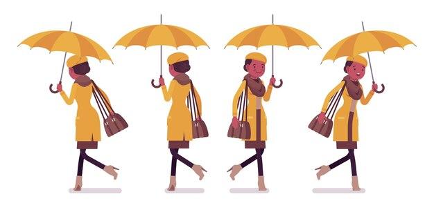 秋の服のイラストを着て走っている傘を歩く黒人女性