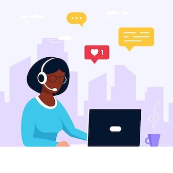 Чернокожая женщина с ноутбуком и наушниками с микрофоном. техническая поддержка, помощь, колл-центр и концепция обслуживания клиентов. плоский стиль векторные иллюстрации