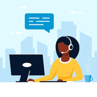 Black woman with with laptop and headphones with microphone. tech support, assistance, call center and customer service concept. flat style vector illustration