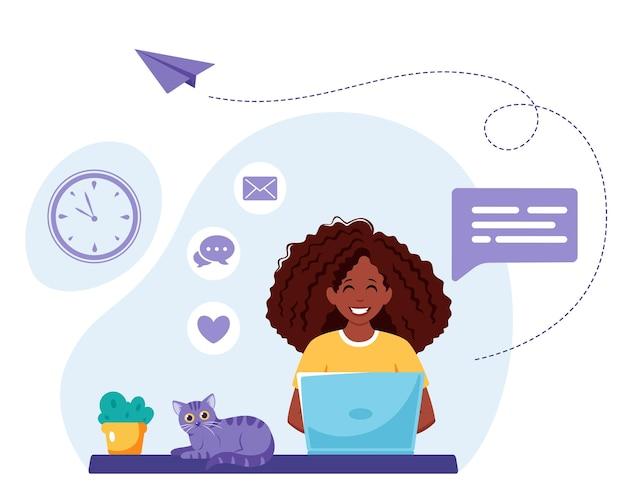 Black woman working on laptop. freelance, online studying, remote work