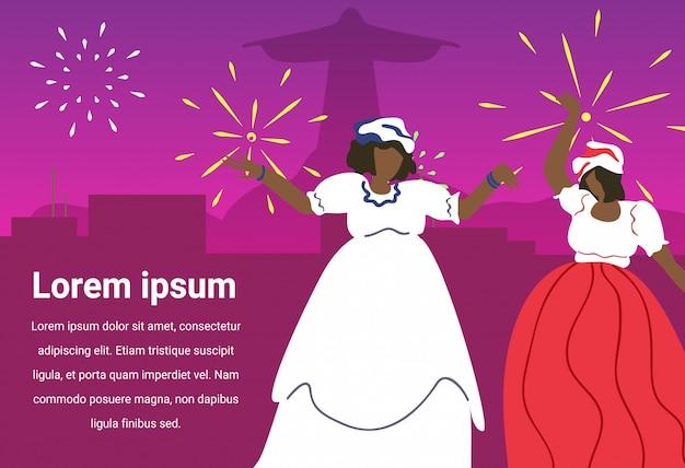 Black women in carnival dress. brazilian festival.
