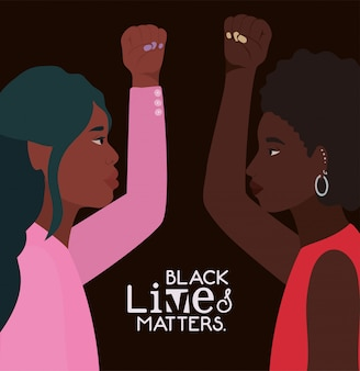 Black women cartoons with fists up in side view with black lives matters text design of protest justice and racism theme