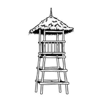 검은 나무 인명 구조 타워 벡터 일러스트 레이 션. 콘서트 또는 음악 축제에 대한 빈티지 홍보 기호. 하와이와 열대 휴가 개념은 복고풍 템플릿, 배너 또는 포스터에 사용할 수 있습니다.