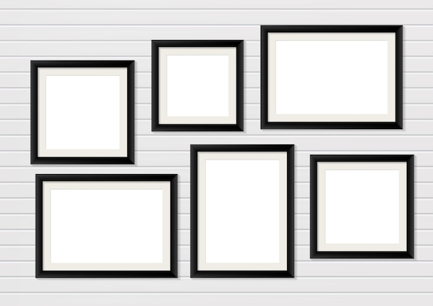 Black wooden photo frame mockup on wall. interior decoration
