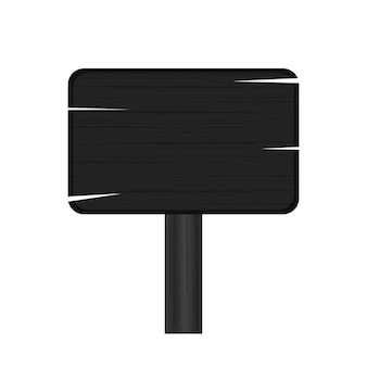 Black wooden plaque. blank wood plate isolated on white background. vector.