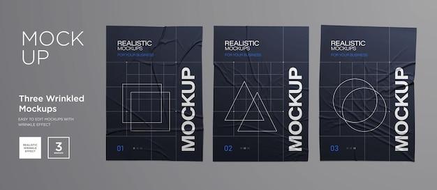 Black wrinkled poster template set. glued paper. vector realistic wet wrinkled posters mockup