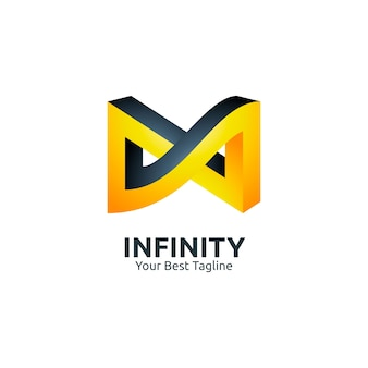 Black and yellow 3d infinity logo illustration template