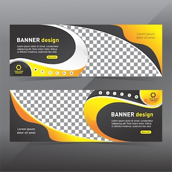 Black and yellow abstract banner