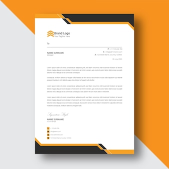 Black and yellow   abstract letterhead template