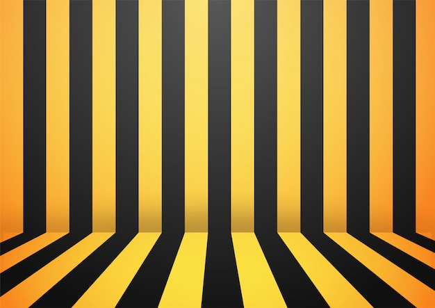 Black and yellow abstract stripe wall room background.