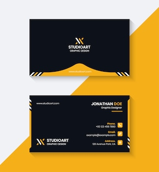 Black and yellow business card design template