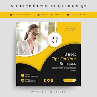 Black and yellow business marketing agency social media post template