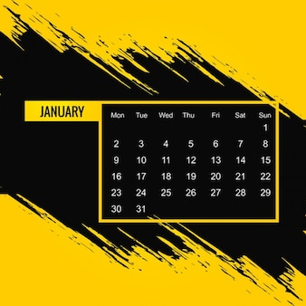 Free Vector Black And Yellow Calendar 2017
