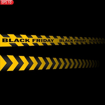 Black and yellow caution lines isolated. realistic warning tapes. black friday sale