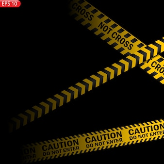 Black and yellow caution lines isolated. realistic warning tapes. Premium Vector
