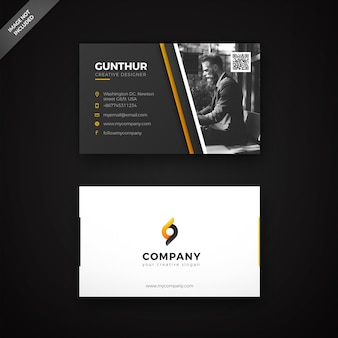 Black and yellow diagonal shape business card template