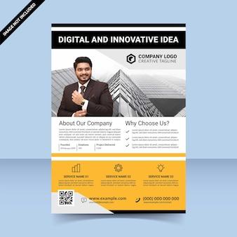 黒黄色のデジタルで革新的なアイデアチラシテンプレートデザイン