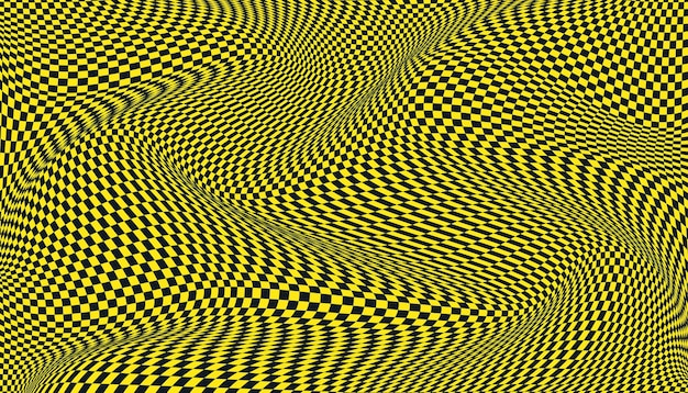Black and yellow distorted checkered background