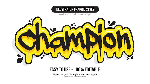 Black and yellow dripping marker graffiti text effect